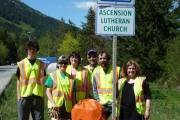 Members of Ascension Lutheran Church clean up Highway 3A as part of the Adopt a Highway program